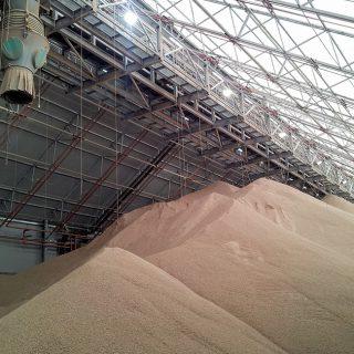 Biomass pellet storage facility